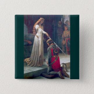 女性女王のナイト爵に叙する騎士旧式な絵画 5.1CM 正方形バッジ