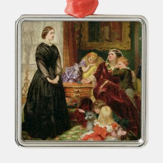 女性家庭教師1860年(キャンバスの油) シルバーカラー正方形オーナメント