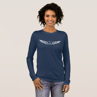 女性平和翼のティー 長袖Tシャツ