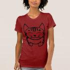 女性幸せな猫のTシャツ(黒い虎猫) Tシャツ
