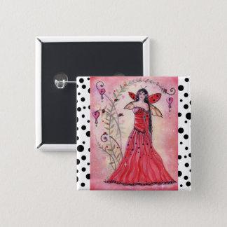 女性愛虫のバレンタインRenee著妖精ボタンピン 5.1cm 正方形バッジ