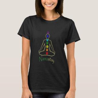 女性暗いナマステNamastay Tシャツ