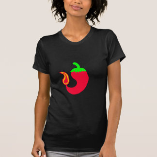 女性暗い基本的なTシャツの熱いハラペーニョ Tシャツ