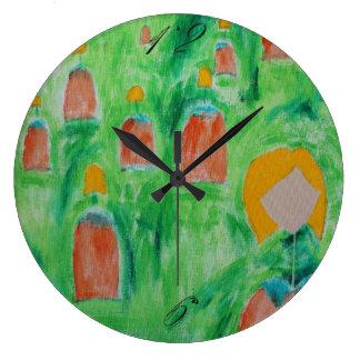 女性歩く円の時計2 ラージ壁時計
