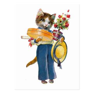 女性猫軸受け花およびギフト ポストカード