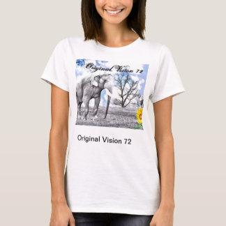 女性白い身につけられる芸術のTシャツ。 象 Tシャツ