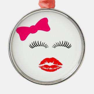 女性目の鞭、口紅のキスおよび弓 メタルオーナメント
