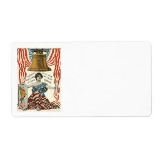 女性自由の鐘米国の旗7月第4 ラベル