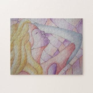 女性芸術のジグソーパズルを提起する70年代のレトロの抽象美術 ジグソーパズル