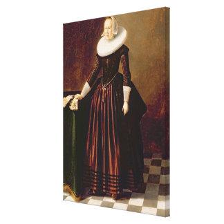 女性(パネルの油)のポートレート キャンバスプリント