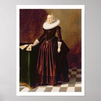 女性(パネルの油)のポートレート ポスター