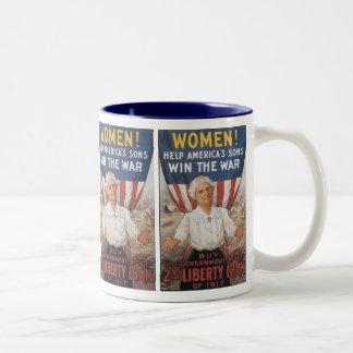 女性! 助けアメリカの息子 ツートーンマグカップ