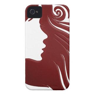 女性(暗い赤味がかった背景)のシルエット Case-Mate iPhone 4 ケース