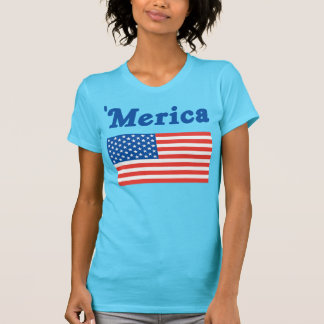 女性「米国旗が付いているMericaのワイシャツ Tシャツ