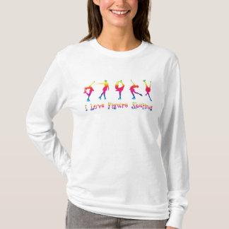 女性- I愛フィギュアスケート、明るい色 Tシャツ