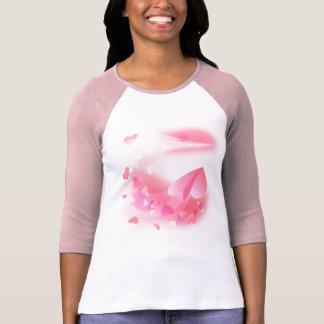 女性」raglanのT短いバレンタインの飛行機のデザイン Tシャツ
