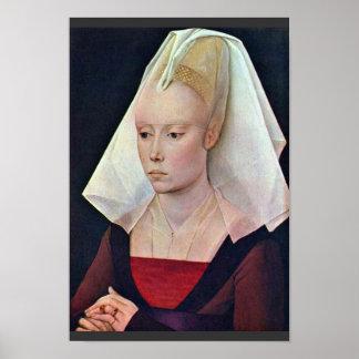 女性By Weyden RogierヴァンDerのポートレート ポスター