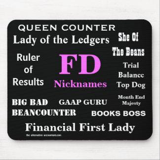 女性FDはおもしろいな財政ディレクターを愛称で呼びますNames マウスパッド