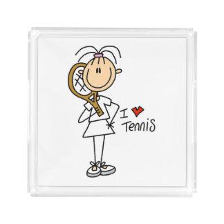 女性I愛テニスのアクリルの皿 アクリルトレー