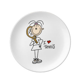 女性I愛テニスの磁器皿 磁器プレート