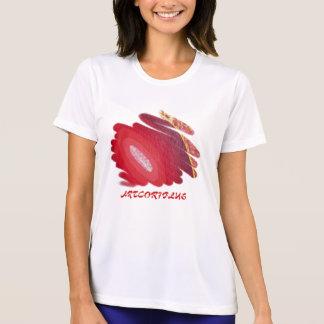 女性PERF。 マイクロ繊維のTシャツの赤い芸術のらせん状 Tシャツ