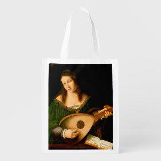 女性Playing Luteファインアートのルネサンスの絵画 エコバッグ