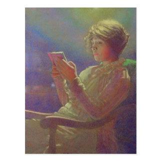 女性Reading 1921年 ポストカード