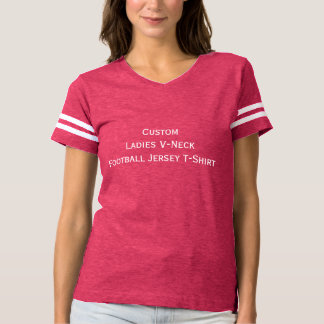 女性V首のフットボールのジャージーのカスタムなTシャツを作成して下さい Tシャツ