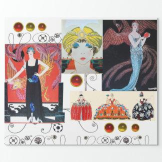 女性WITHフェニックスのアールデコの美しいのファッションの衣裳 包装紙
