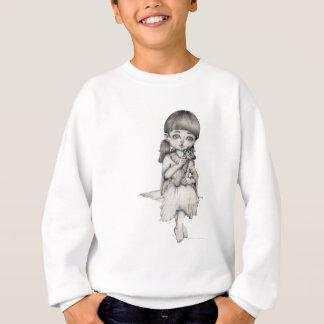 女性With Giraffeの白黒鉛筆のスケッチ スウェットシャツ
