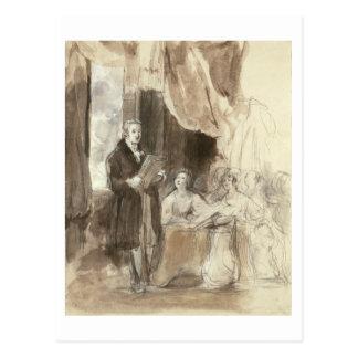 女王にビクトリア読んでいるロバート・ピール ポストカード