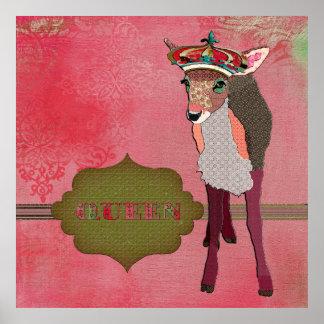 女王のかわいらしいピンクの子鹿のヴィンテージポスター ポスター