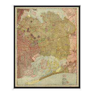 女王のニューヨーク(1923年)自治区の地図 キャンバスプリント