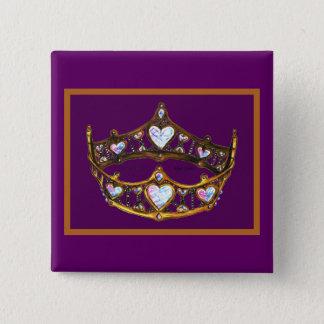 女王のハートのイエロー・ゴールドの王冠のティアラの王室のな紫色 5.1CM 正方形バッジ