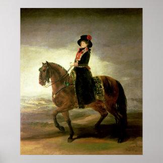 女王のマリアルイザ乗馬のポートレート ポスター