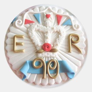 女王の第90誕生日の円形のステッカー ラウンドシール
