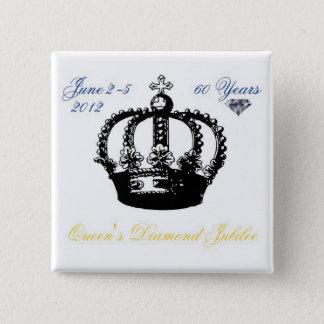 女王の60周年記念2012ボタン 5.1CM 正方形バッジ