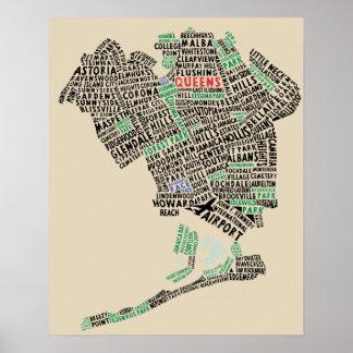 女王、ニューヨークのタイポグラフィの地図の芸術ポスター ポスター