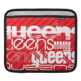 女王; 深紅の赤のストライプ iPadスリーブ
