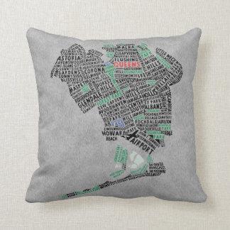 女王NYのタイポグラフィの地図の枕 クッション