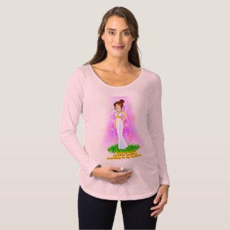 女神の妊婦のなTシャツ(ブラウンの毛) マタニティTシャツ