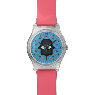 女神の手元のhamsaのkhamsaの目 腕時計
