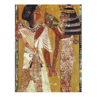 女神のHathorの置くことを描写するレリーフ、浮き彫り ポストカード