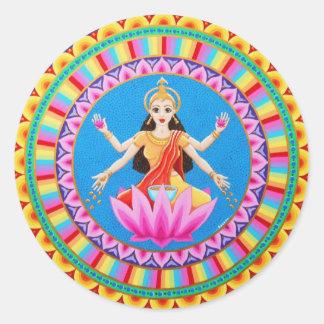 女神のLakshmiの曼荼羅 ラウンドシール