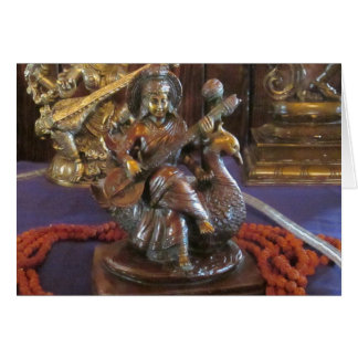 女神のSaraswatiの挨拶状 カード