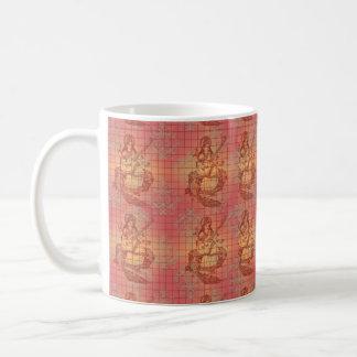 女神のSaraswatiの赤く黄色いヒンズー教の知恵インド コーヒーマグカップ