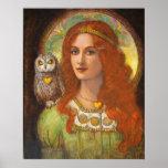 女神アテーナー、女性及びフクロウのファンタジーの芸術ポスター ポスター