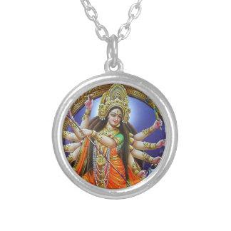 女神Durga シルバープレートネックレス