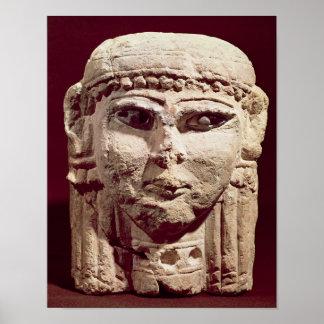 女神Ishtarの頭部、アンマンから、ヨルダン ポスター