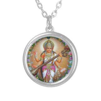 女神Saraswati シルバープレートネックレス